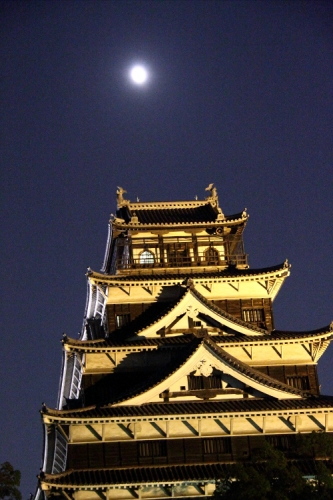 広島城と月