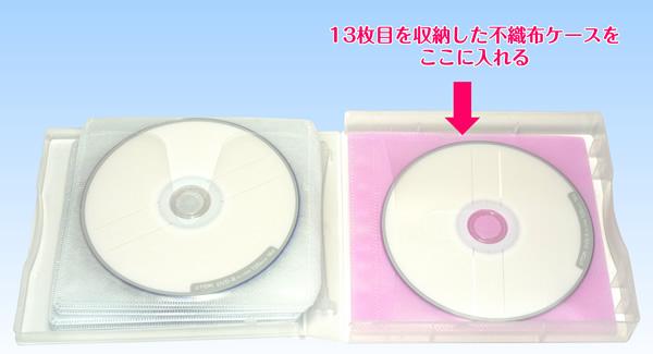 ダイソー 12枚収納できるCD・DVDアルバムケースの中にCD・DVD両面不織布ケースを入れる
