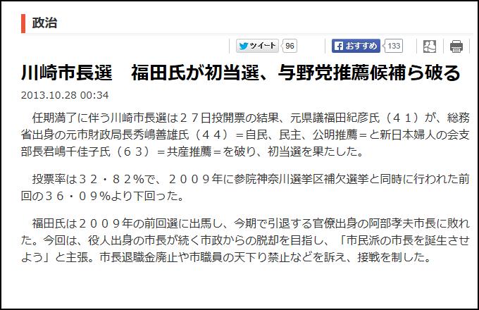 川崎市長選挙 福田紀彦 ワタミ 渡邉美樹 自民党
