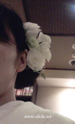 ヘッドドレスローズ白緑
