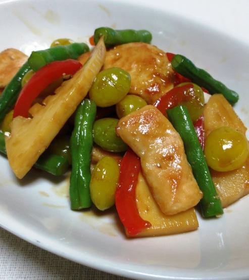 鶏胸肉と銀杏の炒め B