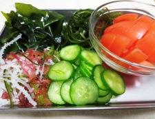 アジと海藻 かけトマ酢の物 調理①