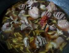 鶏もつとねぎの生姜煮 調理②