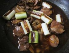 鶏もつとねぎの生姜煮 調理③
