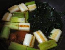 長ねぎとわかめの梅煮 調理③