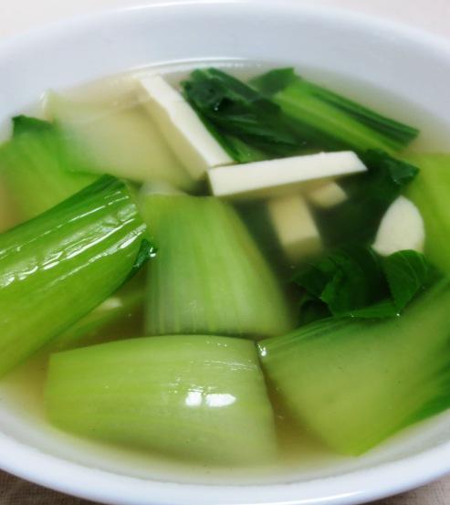 青梗菜と豆腐のスープ 大