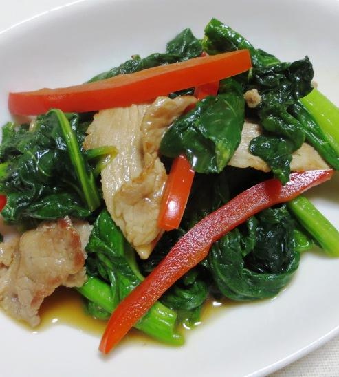 小松菜と豚肉の炒め 大