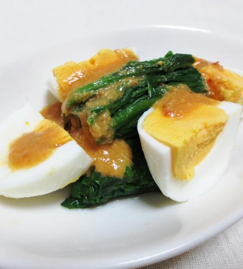 ほうれん草とゆで卵のピリ辛胡麻味噌サラダ 大