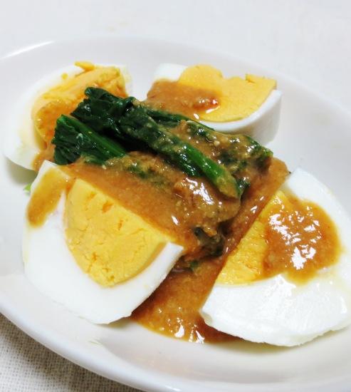 ほうれん草とゆで卵の胡麻味噌サラダ B
