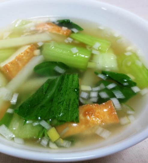 厚揚げと青梗菜のスープ 大