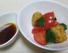 トマトと唐揚げのサラダ 調理