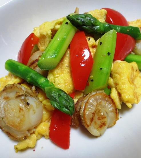 アスパラと炒り卵のペパーソテー 大