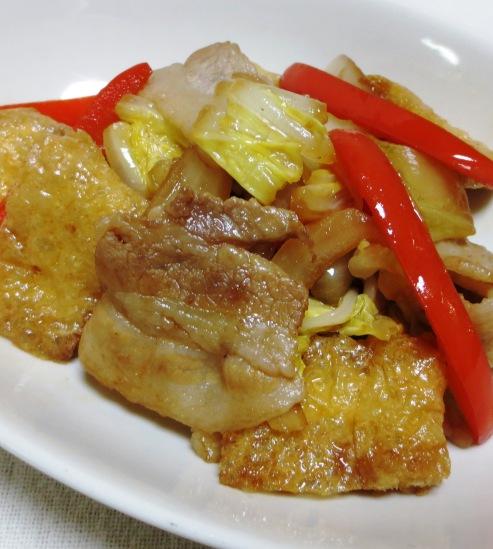 お揚げと豚肉のポン酢ソテー B