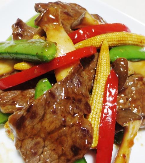 牛肉とスナップエンドウのオイスターソース炒め B②