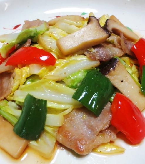 豚肉とキャベツの麺つゆ山椒炒め 大