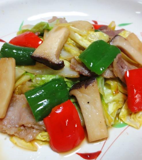 豚肉とキャベツの麺つゆ山椒炒め B