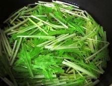 水菜とお揚げの炊いたん 調理①