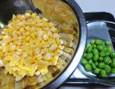 とうもろこしと枝豆のかき揚げ 調理①