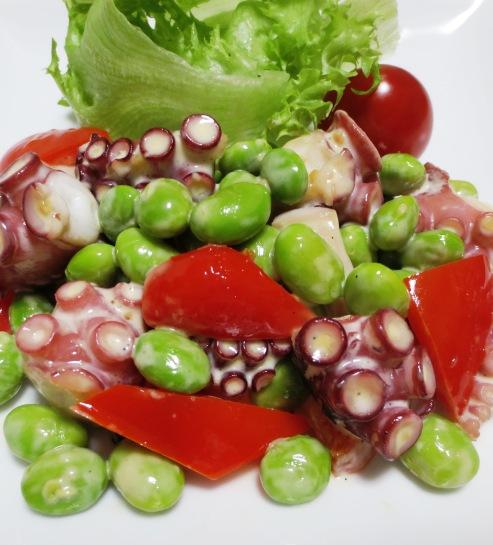 タコと枝豆のガーリックマヨ炒め B