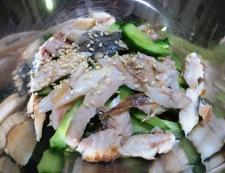アジの塩焼きときゅうりの酢の物 調理