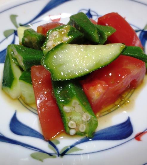 トマトとおくらの柚子胡椒ポン酢和えB