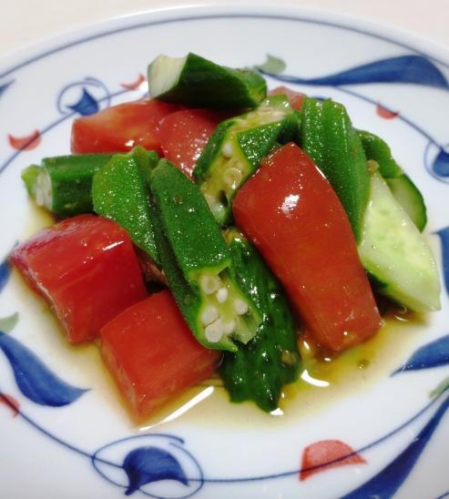 トマトとおくらの柚子胡椒ポン酢和え 大