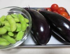 翡翠ナスと枝豆の煮浸し 材料
