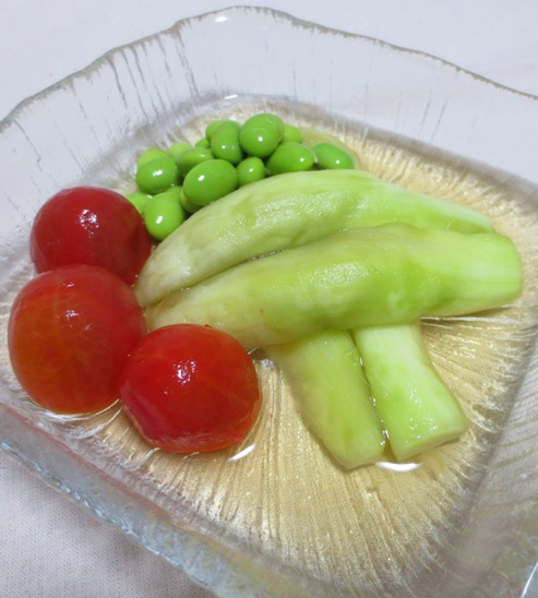 翡翠ナスと枝豆の煮浸し B