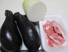 茄子と豚肉のおろし炒め 材料