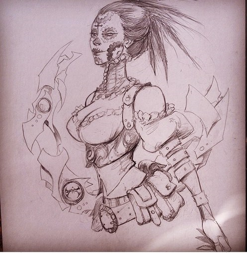 Joe Benitez Lady Mechanika 11x17 pencil torso