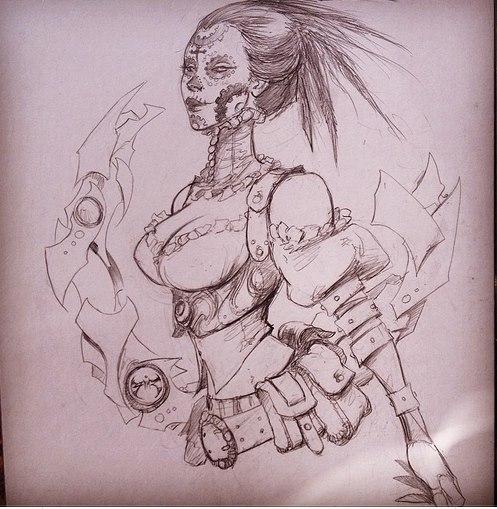 Joe Benitez Lady Mechanika 11x17 pencil torso