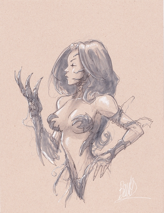 Joe Benitez Witchblade 8x11 grey torso