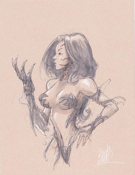 Joe Benitez Witchblade 8x11 grey torso