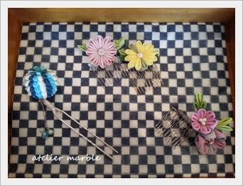 つまみ細工 千葉県旭市 アトリエマーブル 髪飾り販売