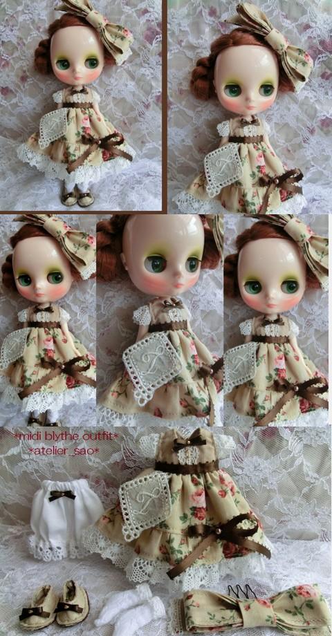 ◆ミディブライス服・靴◆ブラウン・ベージュ薔薇柄set◇