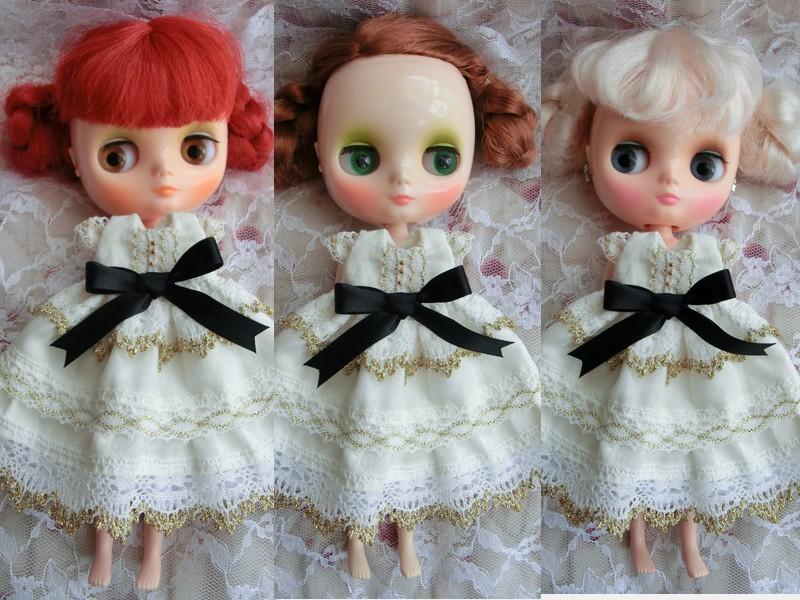 ◆ミディブライス服◆金レースと黒リボンの白ドレスset◇2