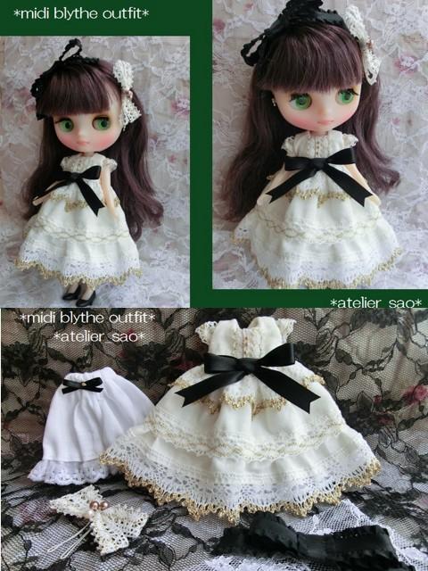 ◆ミディブライス服◆金レースと黒リボンの白ドレスset◇コンテッサ