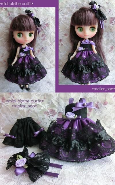 ◆ミディブライス服◆紫水玉×黒のドレスset◇
