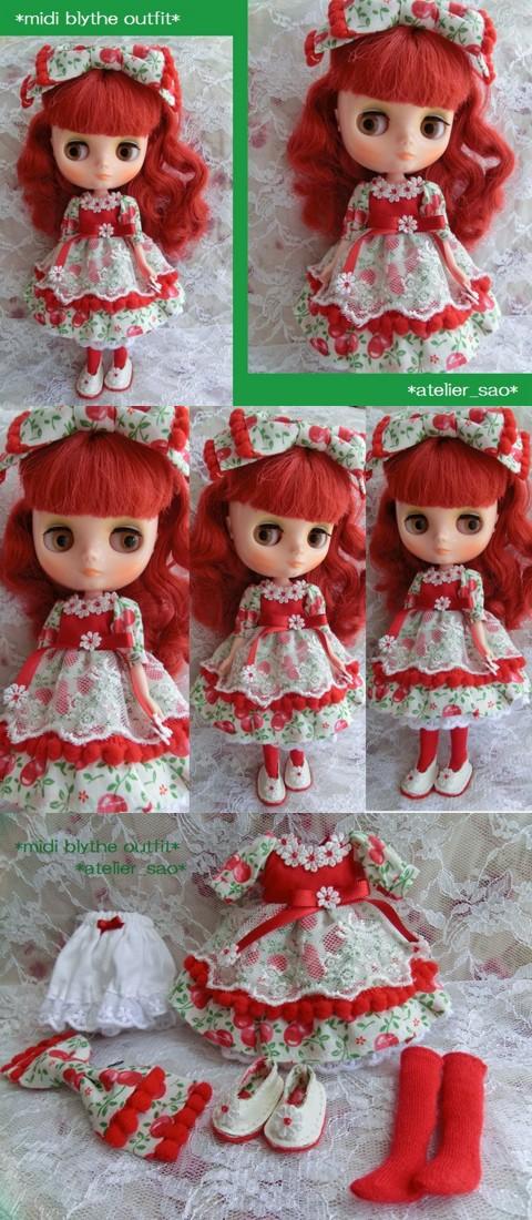 ◆ミディブライス服靴◆赤×白 チェリーと花のドレスset◇