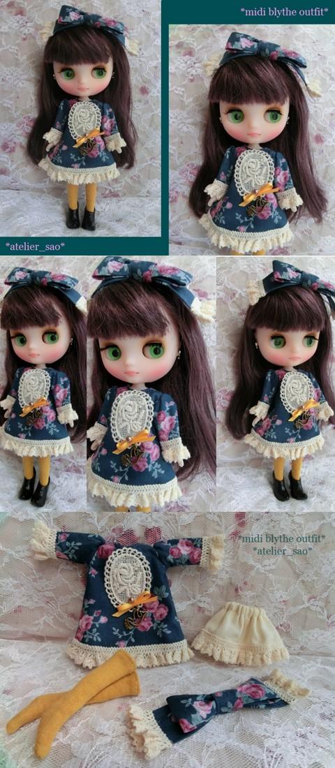 ◆ミディブライス服◆青緑×カラシ色☆秋色バラ柄ワンピset◇