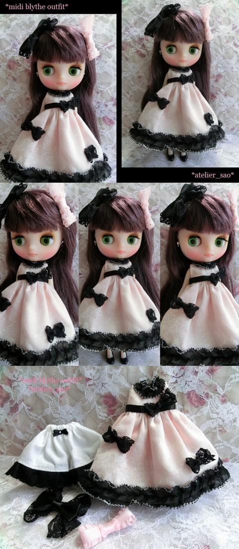 ◆ミディブライス服◆ナチュラルピンクと黒リボンのドレスset◇