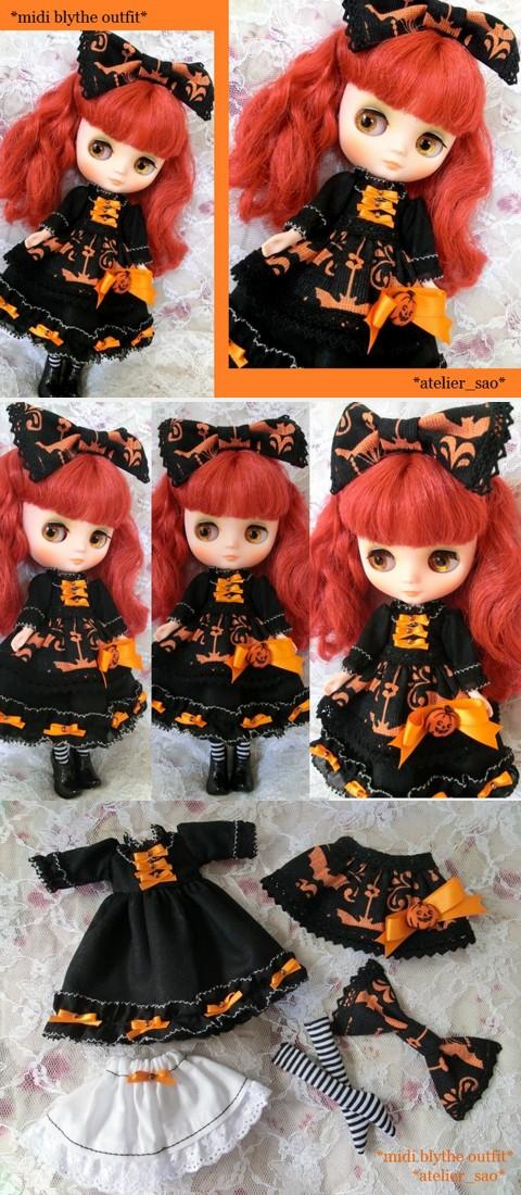◆ミディブライス服◆ハロウィン☆の黒ドレスset◇