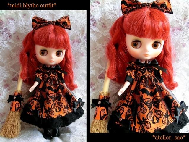 ◆ミディブライス服◆ハロウィン柄☆オレンジドレスset◇-1