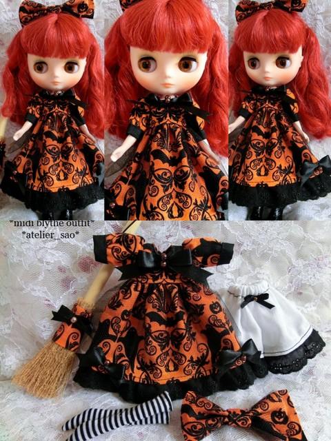 ◆ミディブライス服◆ハロウィン柄☆オレンジドレスset◇-2
