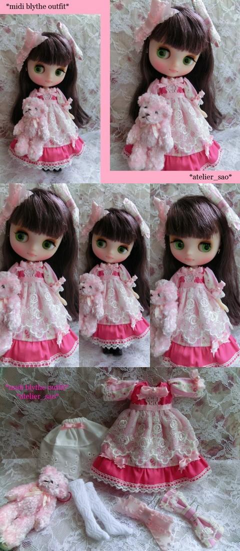 ◆ミディブライス服◆ピンクリボンとくまのドレスset◇