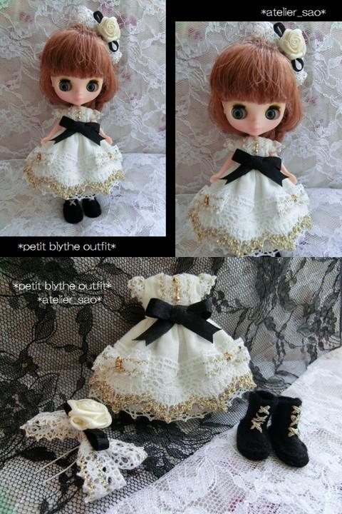 ◆プチブライス服・靴◆金レースと黒リボンの白ドレスset◇
