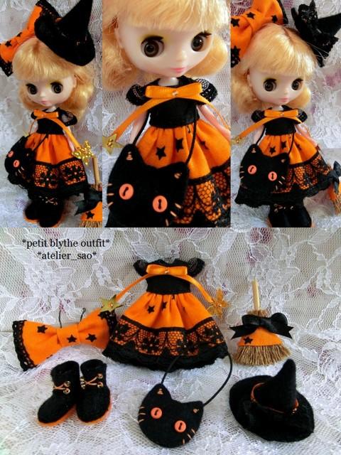 ◆プチブライス服・靴◆ハロウィンの魔女☆ドレスset◇1