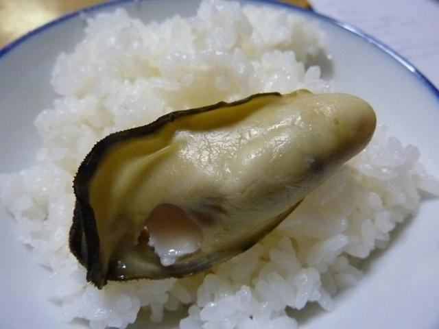 牡蠣をご飯に乗せて食べる