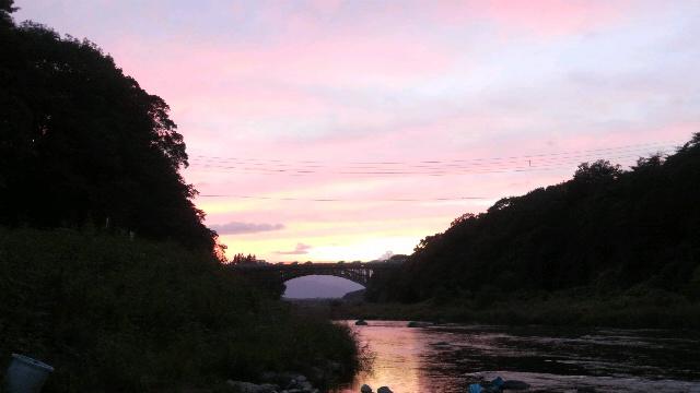 9月19日那珂川夕焼けの晩翠橋
