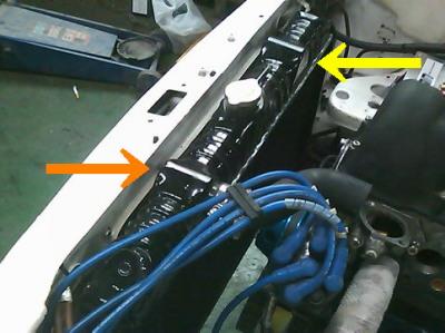 ラジエターパイプの接続口